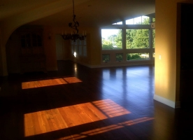 Wide plank pine install with custom stain by First Class Wood Flooring-2