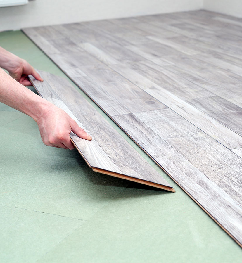 Waterproof vinyl plank installation for Suffolk County bathroom
